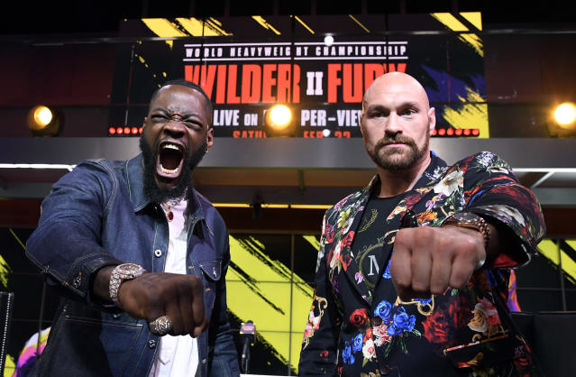 Deontay Wilder and Tyson Fury face off at Fox Studios in Los Angeles, California. (Photo by Kevork Djansezian/Getty Images)