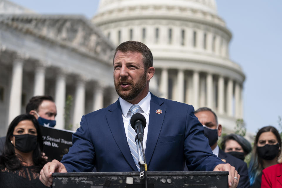 """Rep. Markwayne Mullin, R-Okla., speaks during a news conference about the """"I Am Vanessa Guillén Act,"""" in honor of the late U.S. Army Specialist Vanessa Guillén, and survivors of military sexual violence, during a news conference on Capitol Hill, Wednesday, Sept. 16, 2020, in Washington. (AP Photo/Alex Brandon)"""