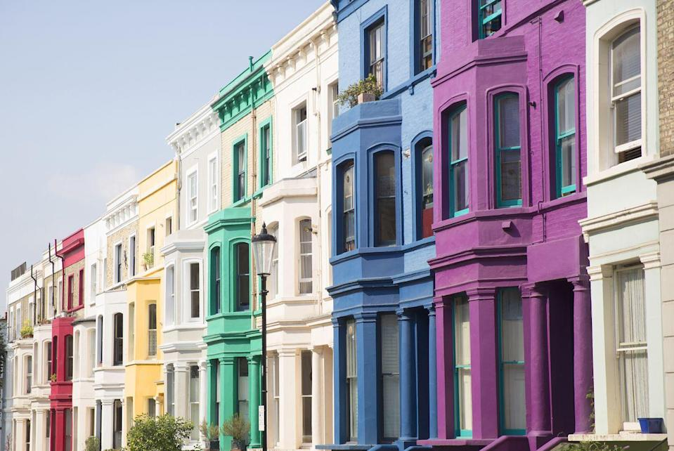 <p>A little rainbow action on these Notting Hill homes.</p>