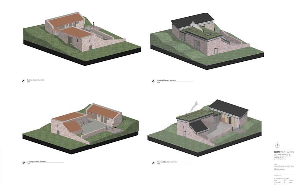 Proposed development of the conversion of two barns into a luxury 6-8-person holiday let  - HWT / WRM Architecture/ SWNS