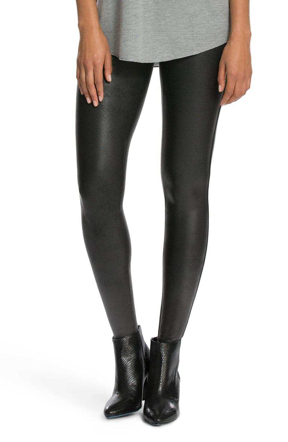 """<strong><h3>Spanx: The Going Out Legging</h3></strong><br>If you're of the """"ride or die"""" variety when it comes to leggings, then you'll know they don't have to be reserved for just the day time. These faux leather leggings are your Friday nights' new best friend.<br><br><strong>The hype:</strong> 4.4 out of 5 stars and 3,300 reviews on Nordstrom<br><br><strong>What they're saying:</strong> """"I've been looking at these leggings for over a year! I wanted them but wasn't sure I could justify the cost for """"leggings""""... seriously, don't even think twice! They are amazing!! The can be dressed up or down so easily! they are so comfortable and really do compress/smooth in the right places!!! I immediately ordered the motto [sic] style the day these came because I love them so much! I am 5'5"""" 140lbs and ordered a medium! They fit great!"""" - Harlihol, Nordstrom Review<br><br><strong>SPANX</strong> Faux Leather Leggings, $, available at <a href=""""https://go.skimresources.com/?id=30283X879131&url=https%3A%2F%2Fwww.nordstrom.com%2Fs%2Fspanx-faux-leather-leggings%2F3828364"""" rel=""""nofollow noopener"""" target=""""_blank"""" data-ylk=""""slk:Nordstrom"""" class=""""link rapid-noclick-resp"""">Nordstrom</a>"""