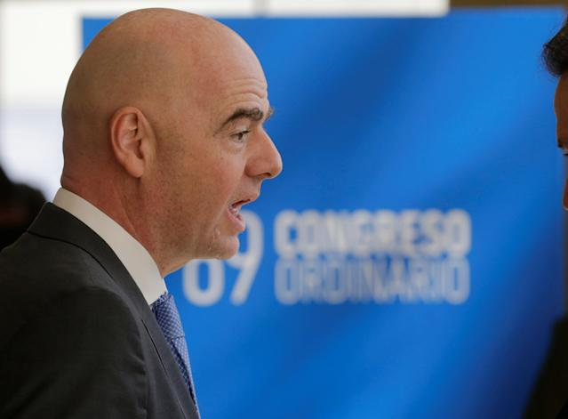 FIFA President Gianni Infantino arrives to an inauguration at the 69th CONMEBOL Ordinary Congress at their headquarters in Luque, Paraguay May 11, 2018. REUTERS/Jorge Adorno