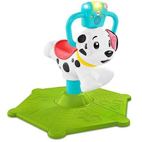 "<p><strong>Fisher-Price</strong></p><p>amazon.com</p><p><strong>$69.76</strong></p><p><a href=""https://www.amazon.com/dp/B07MJCN7HZ?tag=syn-yahoo-20&ascsubtag=%5Bartid%7C10055.g.34425717%5Bsrc%7Cyahoo-us"" rel=""nofollow noopener"" target=""_blank"" data-ylk=""slk:Shop Now"" class=""link rapid-noclick-resp"">Shop Now</a></p><p>The Bounce and Spin Puppy may be more of a bounce-on than a ride-on, but we've included it as it helps to similarly promote balance and getting on and off in a similar capacity! The puppy has <strong>different modes of play, allowing kids to rock out to the ABCs and 123s or learn the colors </strong>with the projecting lights. <br><br><strong>Ages: </strong>1+ years old<strong><br>Max Weight:</strong> 55 pounds</p>"