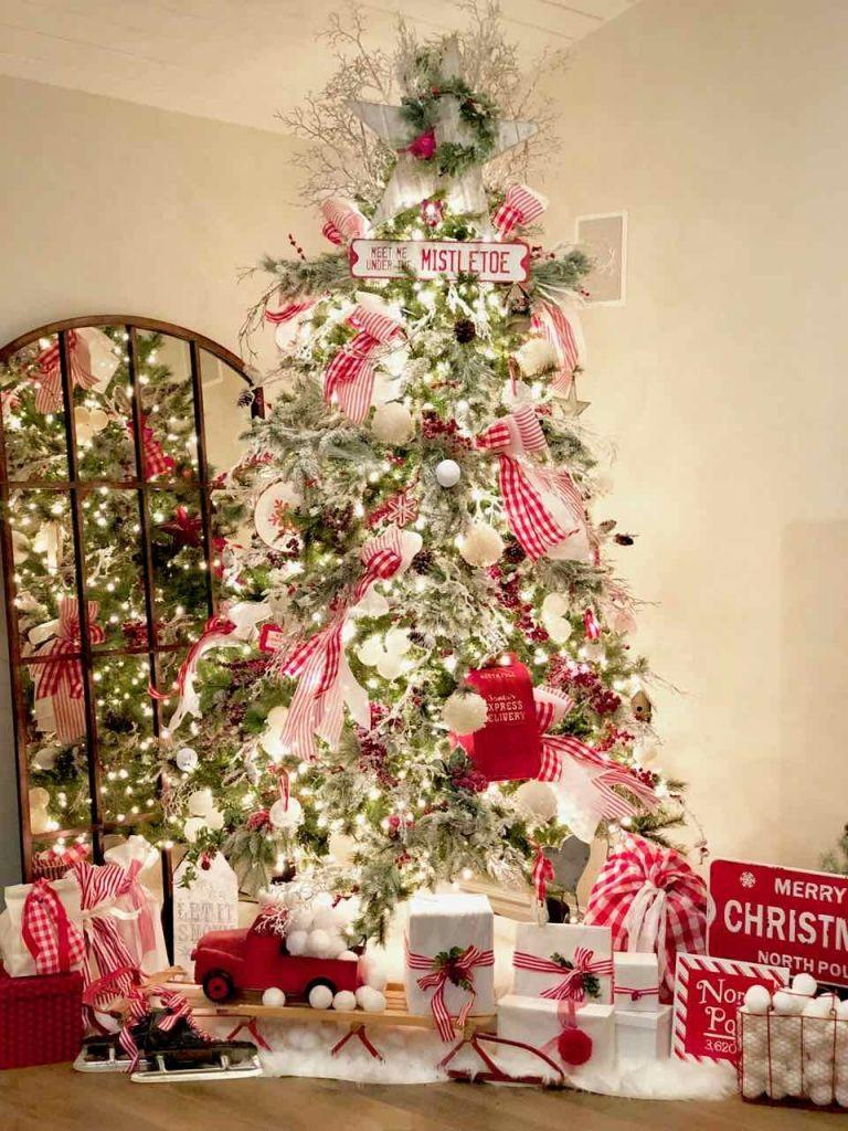 """<p>Nothing will get you into the Christmas spirit faster than a tree fully festooned with red and white decor.</p><p><strong><em>Get the tutorial at <a href=""""https://www.designdazzle.com/farmhouse-christmas-tree/"""" rel=""""nofollow noopener"""" target=""""_blank"""" data-ylk=""""slk:Design Dazzle"""" class=""""link rapid-noclick-resp"""">Design Dazzle</a>. </em></strong></p><p><a class=""""link rapid-noclick-resp"""" href=""""https://www.amazon.com/gp/product/B01CDDLRYO?tag=syn-yahoo-20&ascsubtag=%5Bartid%7C10070.g.2025%5Bsrc%7Cyahoo-us"""" rel=""""nofollow noopener"""" target=""""_blank"""" data-ylk=""""slk:SHOP STRIPED RIBBONS"""">SHOP STRIPED RIBBONS</a></p>"""