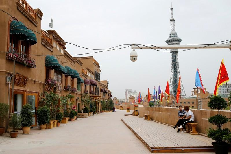FILE PHOTO: A security camera is placed in a renovated section of the Old City in Kashgar