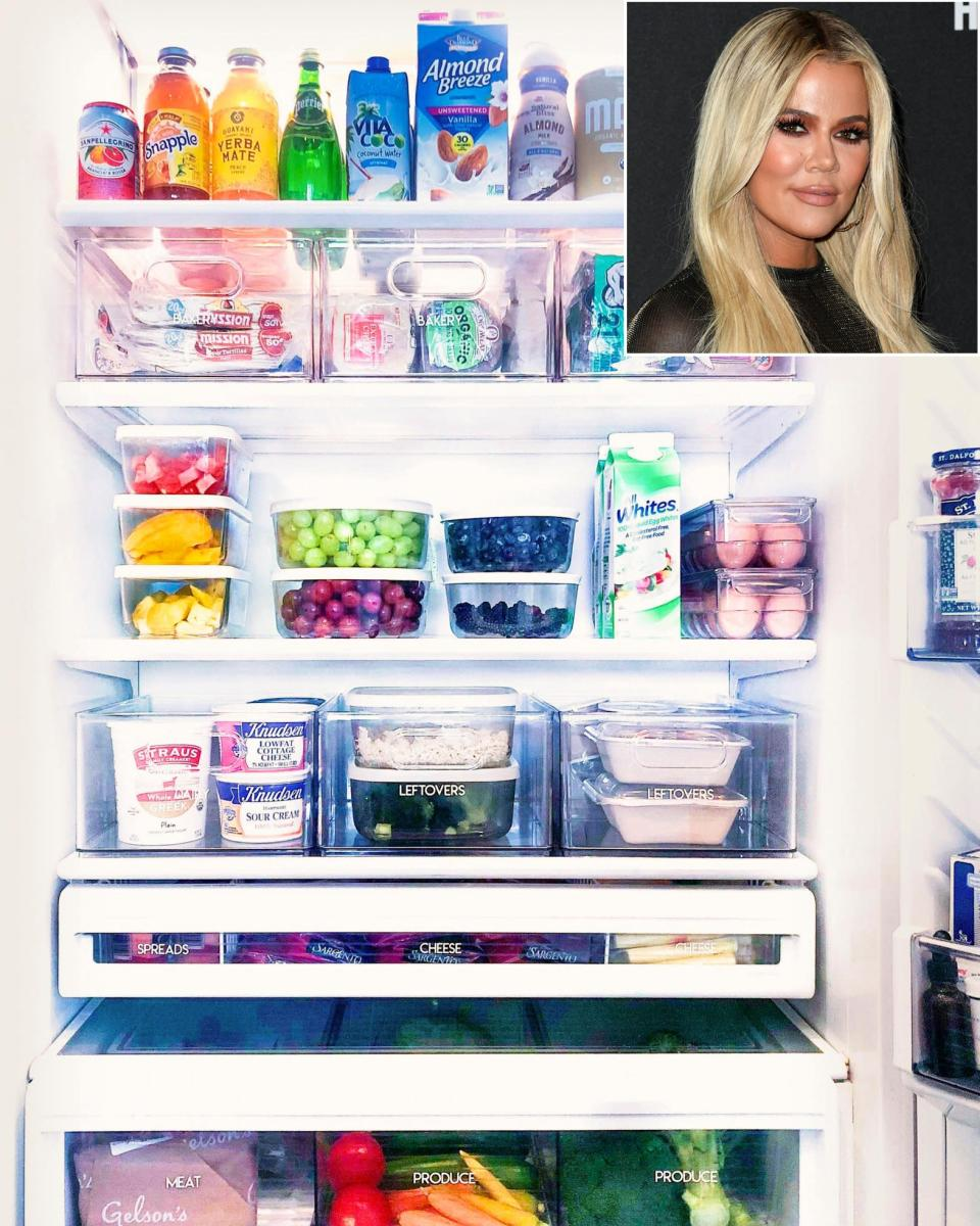 """<strong>Group Related Foods Together</strong> """"Khloé Kardashian's ultraneat fridge is actually super attainable,"""" says <a href=""""https://thehomeedit.com"""" rel=""""nofollow noopener"""" target=""""_blank"""" data-ylk=""""slk:Home Edit"""" class=""""link rapid-noclick-resp"""">Home Edit</a> cofounder Joanna Teplin, who worked with the star. Categorize and contain similar items — like leftovers, meats or kids' snacks — in their own areas. When you have a spot for everything, you know what you have and what you need. Says Kardashian: """"There is a method to the madness!"""" Teplin also suggets using clear or labeled bins to store all your food products. No more losing food in the back of the fridge!"""