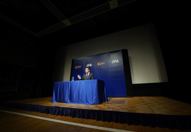 Japan Football Association (JFA) President Kozo Tashima speaks during a press conference at its headquarters in Tokyo, Monday, April 9, 2018. Tashima said Japan fired coach Vahid Halilhodzic two months before soccer's World Cup in Russia and replaced him immediately on Monday with Japanese Akira Nishino, the technical director of the JFA. (AP Photo/Shizuo Kambayashi)