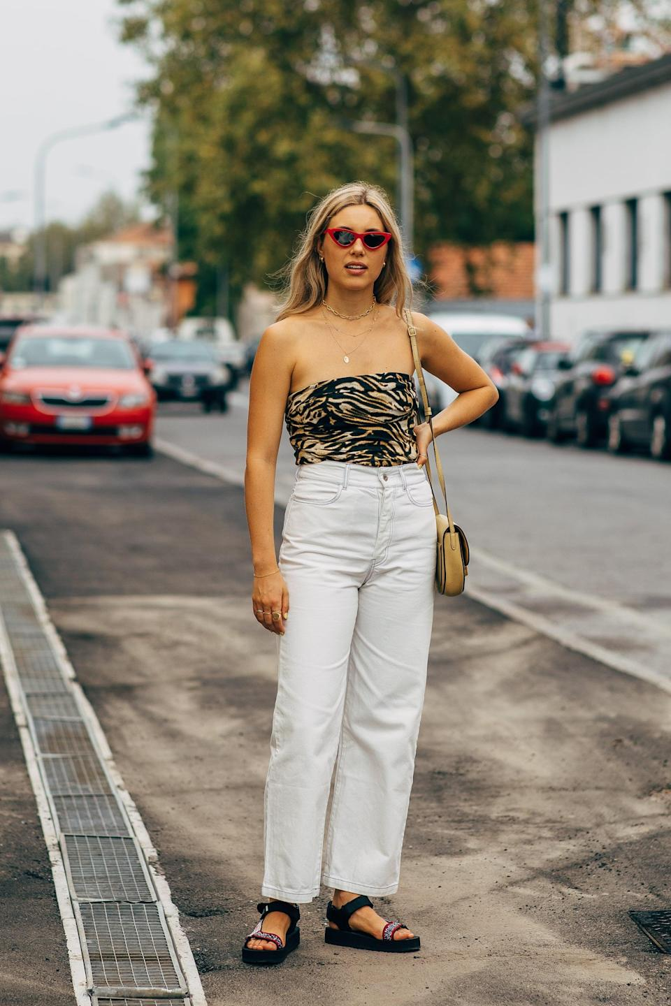 <p>Stay cool with a tube top and Teva-inspired sandals. </p>
