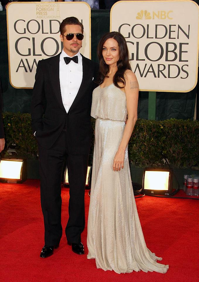 """Brad Pitt and Angelina Jolie arrive at the 66th Annual Golden Globe Awards in Beverly Hills. Vince Bucci/<a href=""""http://www.wireimage.com"""" target=""""new"""">WireImage.com</a> - January 11, 2009"""