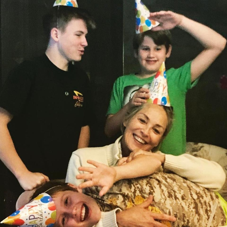 "<p></p><p><span>The <em>Fatal Attraction</em> star marked son Laird's birthday with this party pic of all <a rel=""nofollow"" href=""https://www.yahoo.com/celebrity/sharon-stones-3-adopted-sons-best-thing-thats-ever-happened-232451199.html"">three of her adopted boys</a>. ""Happy 12th birthday Laird! #family #love."" (Photo: <a rel=""nofollow"" href=""https://www.instagram.com/p/BT5RKsFgwur/?taken-by=sharonstone"">Sharon Stone via Instagram</a>)</span><br /></p><p> </p><p></p>"