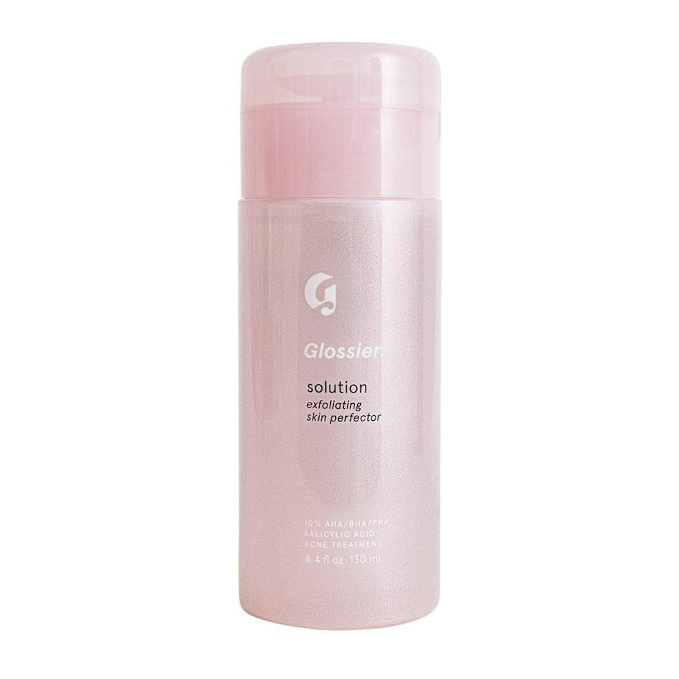 """<p>Aptly named the """"Solution,"""" Glossier's take on the exfoliating toner genre delivers by uniquely combining three groups of acids: AHAs, BHAs, and the lesser-known PHA. Consider the <span>Glossier Solution</span> ($24) a close alternative to that famous French - and very expensive - toner.</p>"""
