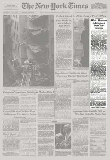 New York Times front page. Source: New York Times website