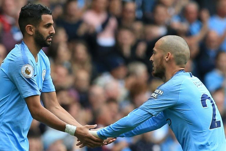 Riyad Mahrez made his first home appearance for Manchester City when he replaced David Silva in the thrashing of Huddersfield