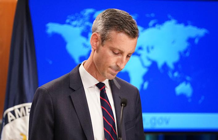 US State Department spokesman Ned Price holds a press briefing on Afghanistan at the State Department in Washington, DC, August 16, 2021. (Photo by KEVIN LAMARQUE / POOL / AFP) (Photo by KEVIN LAMARQUE/POOL/AFP via Getty Images)