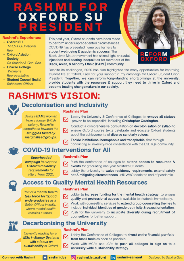 Rashmi Samant's manifesto regarding the students' union elections