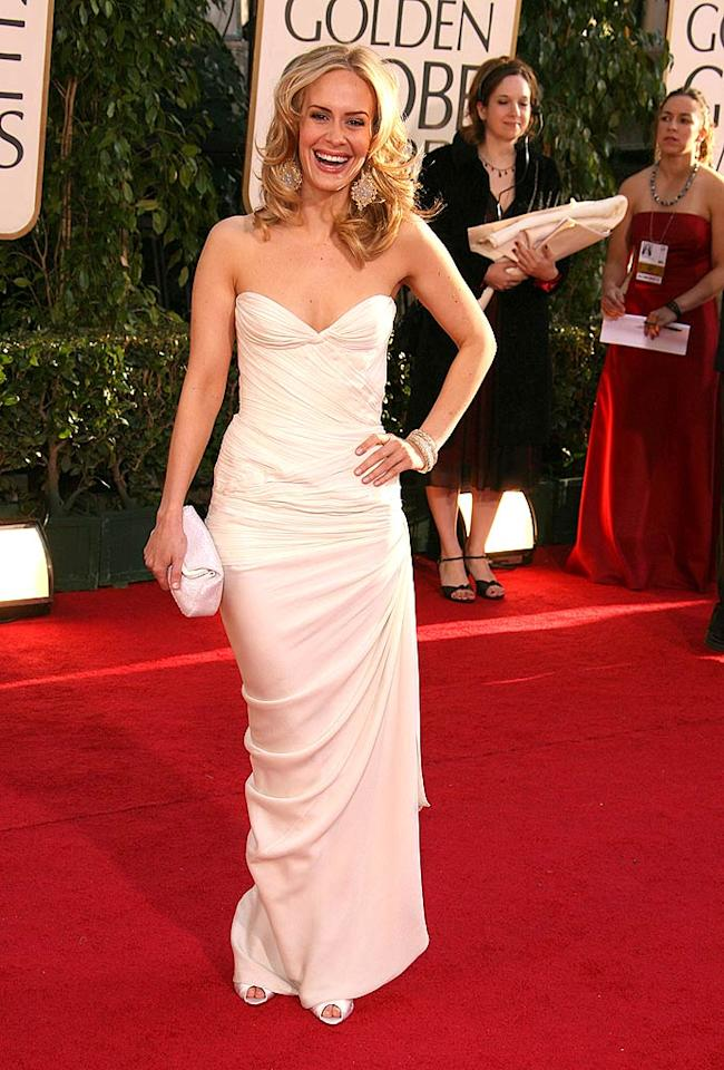 "Sarah Paulson is a vision in white at the 64th Annual Golden Globe Awards. Steve Granitz/<a href=""http://www.wireimage.com"" target=""new"">WireImage.com</a> - January 15, 2007"