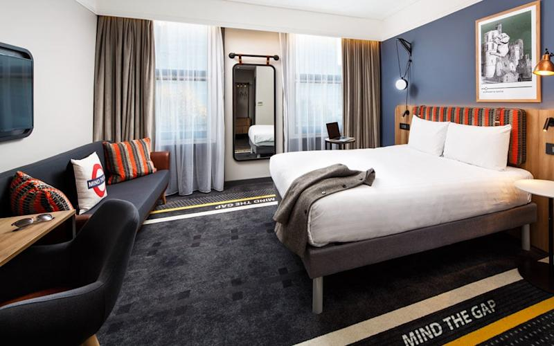From headboards reminiscent of seat fabric to 'Mind The Gap' signs on the carpet, The Ibis Styles Gloucester Road celebrates all things tube