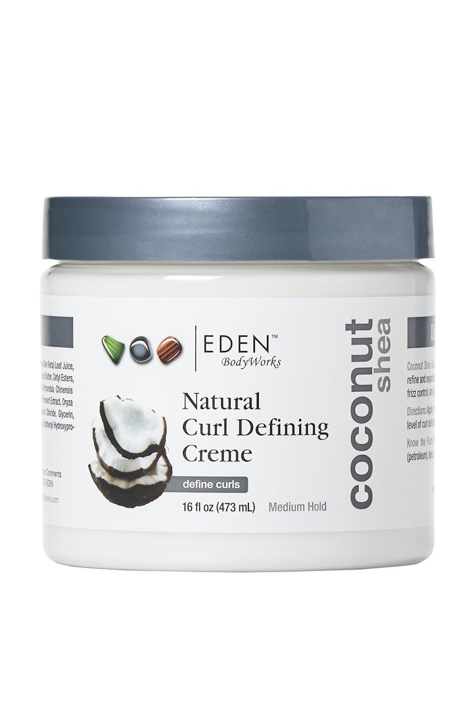 """<p><strong>EDEN BodyWorks</strong></p><p>amazon.com</p><p><strong>$14.14</strong></p><p><a href=""""https://www.amazon.com/dp/B00IYTKTAK?tag=syn-yahoo-20&ascsubtag=%5Bartid%7C10049.g.35265911%5Bsrc%7Cyahoo-us"""" rel=""""nofollow noopener"""" target=""""_blank"""" data-ylk=""""slk:Shop Now"""" class=""""link rapid-noclick-resp"""">Shop Now</a></p><p>A hydrating curl cream is a nonnegotiable for 4a hair, and this one from Eden BodyWorks is formulated with <a href=""""https://www.cosmopolitan.com/style-beauty/beauty/g10297243/coconut-oil-products-for-hair/"""" rel=""""nofollow noopener"""" target=""""_blank"""" data-ylk=""""slk:coconut oil"""" class=""""link rapid-noclick-resp"""">coconut oil</a>, shea butter, aloe, and avocado oil—all of which <strong>help moisturize and define your coils without weighing them down</strong>. After cleansing and conditioning, finger-rake a quarter-sized dollop through wet hair until your head is completely saturated (<em>psst—</em>that includes your hairline, ends, and nape of your neck).</p>"""
