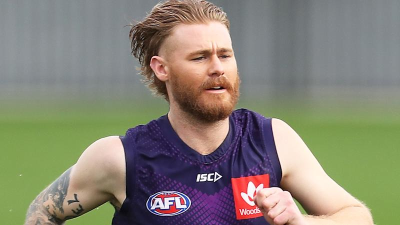 Cam McCarthy is pictured during a Fremantle Dockers training session.
