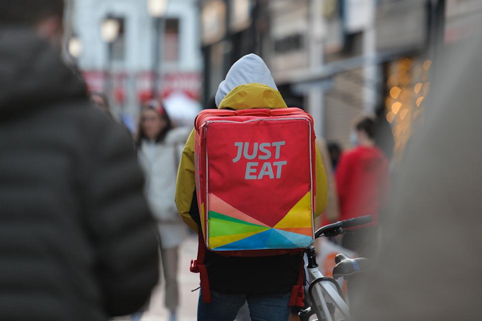 Just Eat currier seen in O'Connell Street, in Dublin. On Sunday, December 20, 2020, in Dublin, Ireland. (Photo by Artur Widak/NurPhoto via Getty Images)