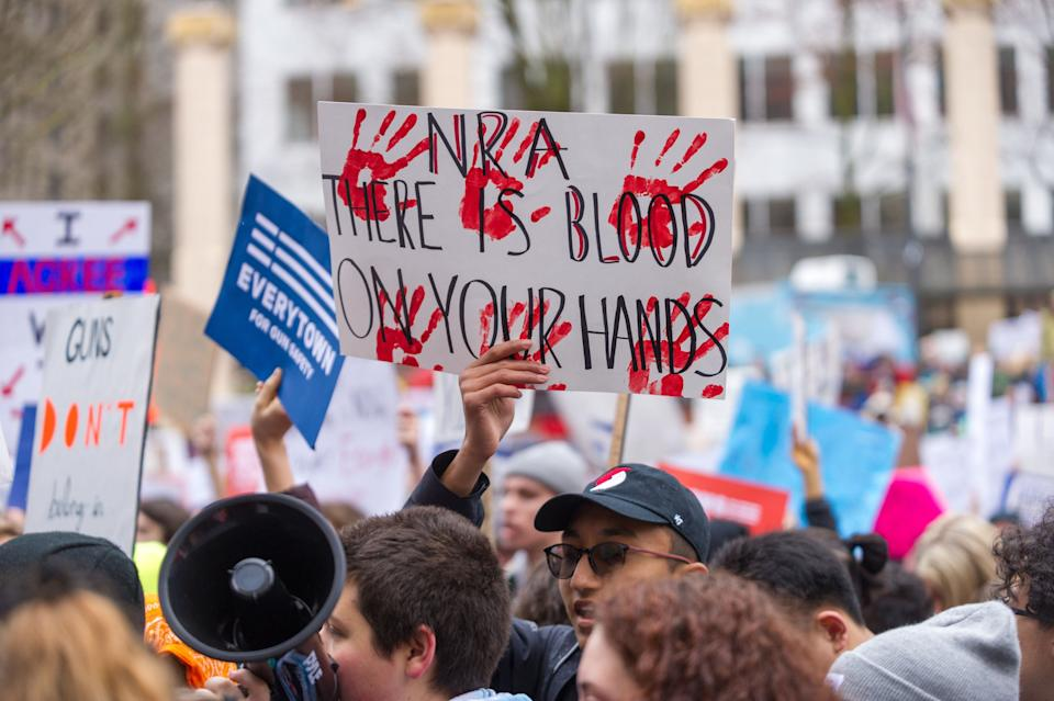Protesters in cities across the U.S. -- from Washington D.C. to Portland, Oregon --- participated in March For Our Lives demonstrations on Saturday. (Photo: Getty Images)