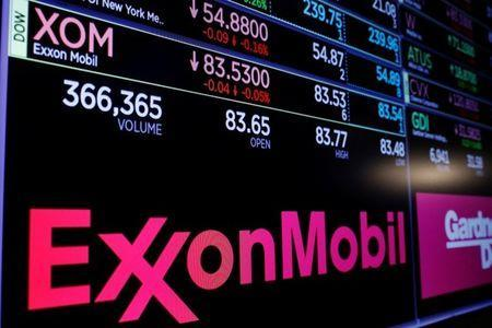 FILE PHOTO: A logo of Exxon Mobil is displayed on a monitor above the floor of the New York Stock Exchange shortly after the opening bell in New York, U.S., December 5, 2017. REUTERS/Lucas Jackson