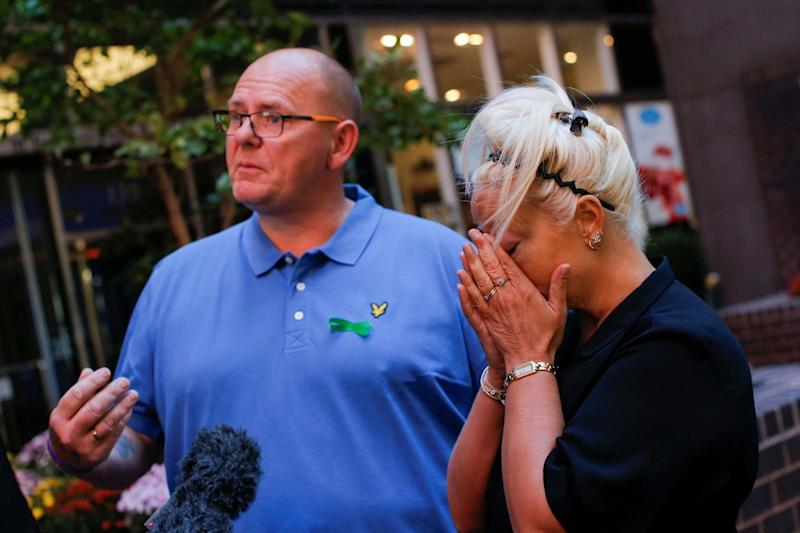 Tim Dunn and Charlotte Charles, parents of teenager Harry Dunn (REUTERS)