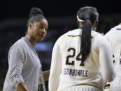 FILE - In this Thursday, Nov. 17, 2016, file photo, Notre Dame assistant coach Niele Ivey, left, talks to player Arike Ogunbowale (24) during a timeout during the first half of Notre Dame's 71-67 win in an NCAA college basketball game against Green Bay in South Bend, Ind. Ivey is taking over after the retirement of Muffet McGraw. (AP Photo/Robert Franklin, File)