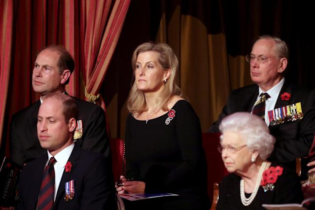 Britain's Queen Elizabeth II, Prince Edward, Prince William, and Sophie, Countess of Wessex attend the Royal British Legion Festival of Remembrance at the Royal Albert Hall in London, Britain November 9, 2019. Chris Jackson/Pool via REUTERS