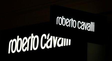 A company logo is pictured outside a Roberto Cavalli store in Vienna