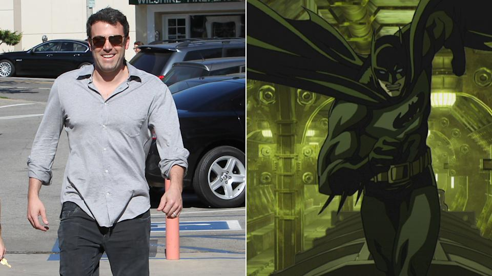 A beefed-up Ben Affleck, seen here on Sunday; and comic book Batman