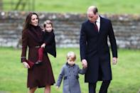 The Duke and Duchess of Cambridge, Prince George and Princess Charlotte had Christmas with Kate's family in 2015. Here at St Mark's Church in Englefield, Berkshire. (Andrew Matthews/PA Images)
