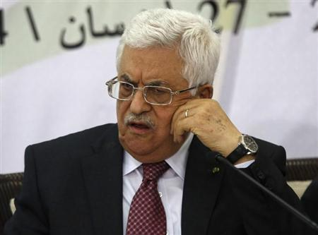 Palestinian President Abbas attends a meeting with the Palestinian Liberation Organization's (PLO) central council in the West Bank City of Ramallah