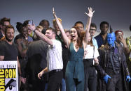 <p>Host Chris Hardwicke attempted to take a mammoth selfie with the entire Marvel clan on July 23. Among his subjects: Brie Larson (making her first official appearance as the future Captain Marvel), and the casts of <i>Guardians of the Galaxy 2</i>, <i>Black Panther</i>, <i>Doctor Strange</i>, and <i>Spider-Man: Homecoming</i>. <i>(Photo: Chris Pizzello/Invision/AP)</i></p>