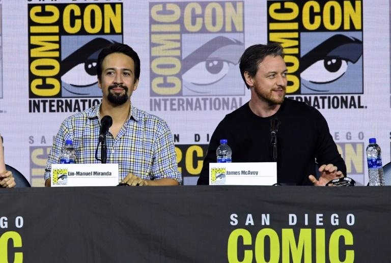 "Lin-Manuel Miranda and James McAvoy speak at the ""His Dark Materials"" panel and Q&A during 2019 Comic-Con International at San Diego Convention Center on July 18, 2019 (AFP Photo/KEVIN WINTER)"