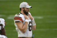Cleveland Browns quarterback Baker Mayfield (6) strands on the sideline after being replaced by Case Keenum during the second half of an NFL football game against the Pittsburgh Steelers, Sunday, Oct. 18, 2020, in Pittsburgh. (AP Photo/Don Wright)