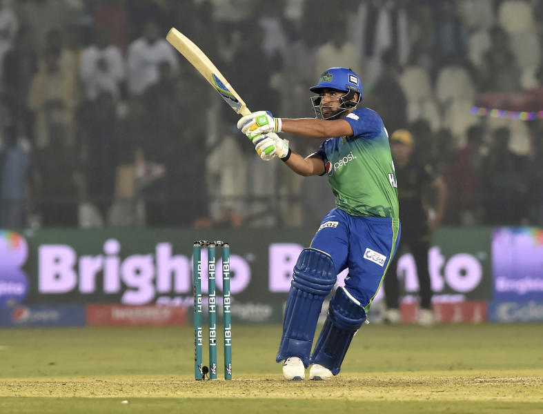 Khushdil Shah of Multan Sultans plays a boundary against Peshawar Zalmi in the Pakistan Super League match in Multan, Pakistan, Wednesday, Feb 26, 2020. Multan Sultan beats Peshawar Zalmi by six wickets. (AP Photo/Asim Tanveer)