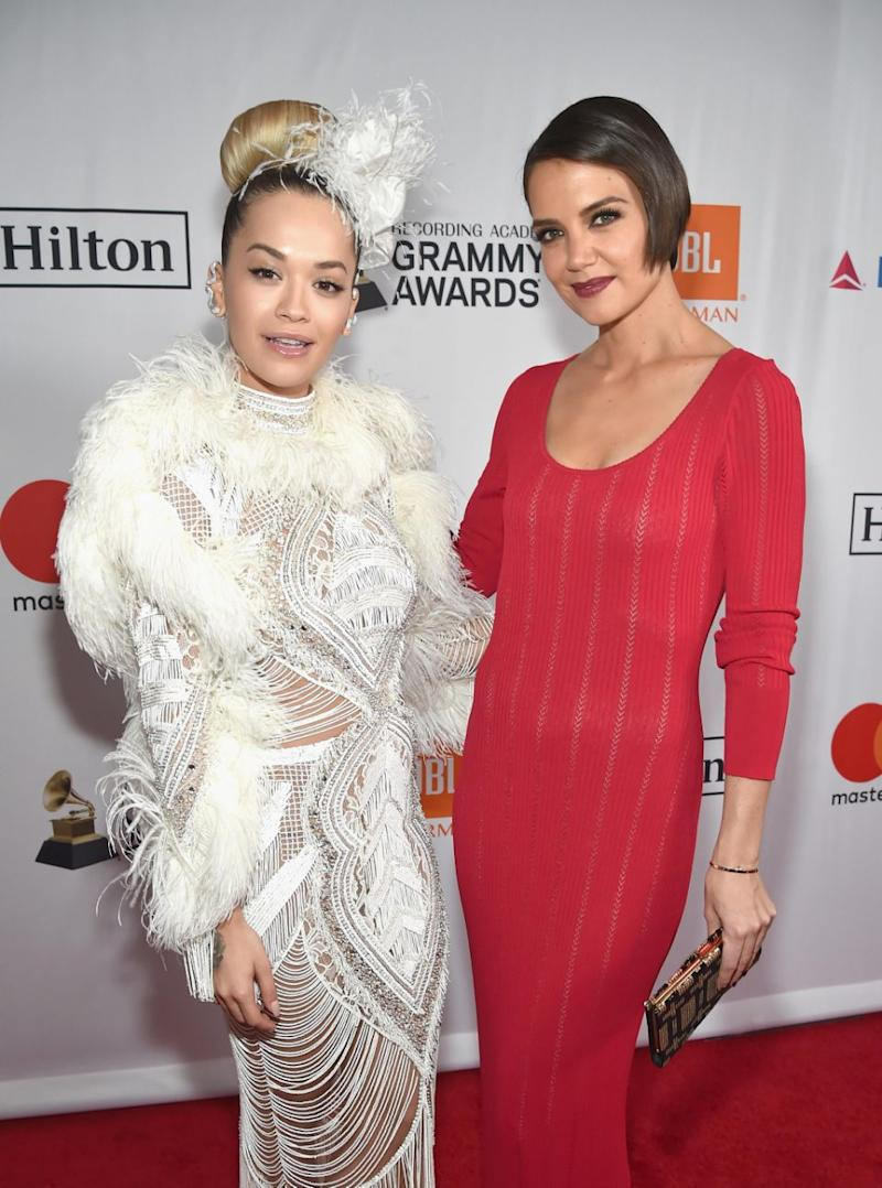 Rita Ora and Katie Holmes attend the Clive Davis and Recording Academy Pre-GRAMMY Gala and GRAMMY Salute to Industry Icons Honoring Jay-Z on January 27, 2018 in New York City. Source: Getty
