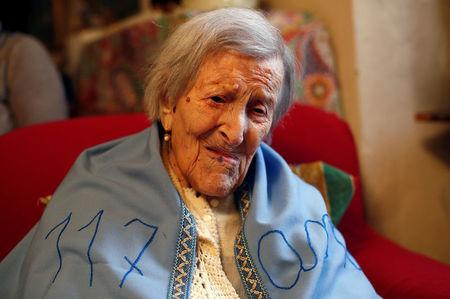 FILE PHOTO -  Emma Morano, thought to be the world's oldest person and the last to be born in the 1800s, is seen during her 117th birthday in her house in Verbania, northern Italy November 29, 2016. REUTERS/Alessandro Garofalo/File Photo