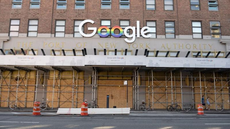 Google's offices in New York City, boarded up to prevent looting in June