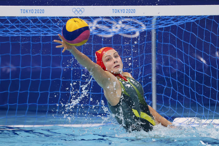 <p>TOKYO, JAPAN - AUGUST 01: Gabriella Palm of Team Australia makes a save during the Women's Preliminary Round Group A match between Australia and South Africa at Tatsumi Water Polo Centre on August 01, 2021 in Tokyo, Japan. (Photo by Al Bello/Getty Images)</p>