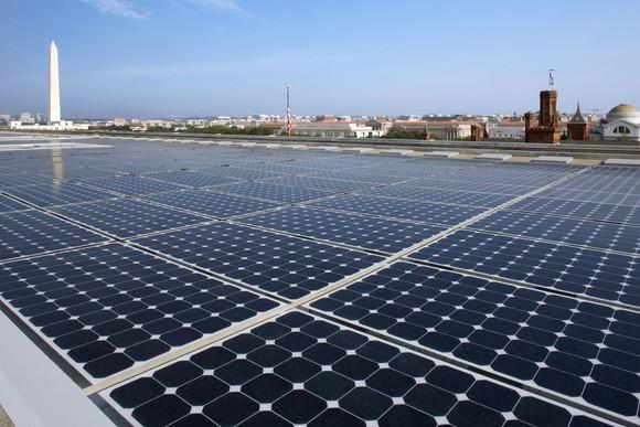 Large solar installation on a roof in Washington DC.