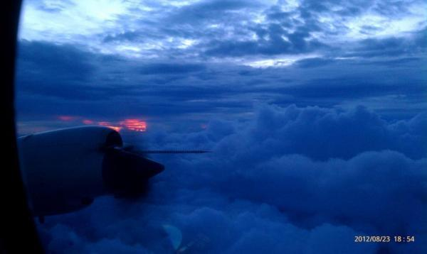 Sunset inside the storm: An image taken from a research plane on the evening of Aug. 23.