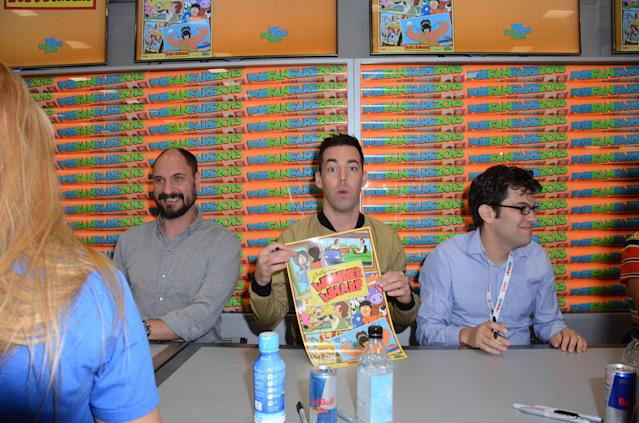 "Cast and executive producers greet and sign an exclusive limited edition ""Bob's Burgers"" poster for fans on Friday, July 19 during Fox Fanfare At San Diego Comic-Con 2013."