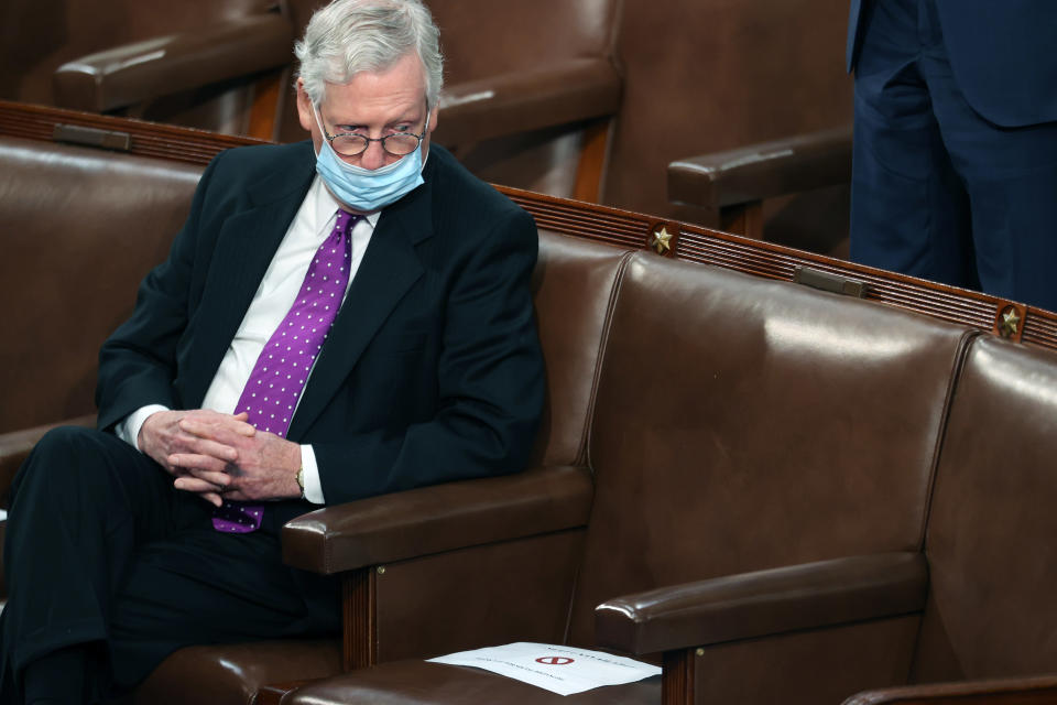 Senate Minority Leader Mitch McConnell of Kentucky, listens to President Joe Biden's address to a joint session of Congress, Wednesday, April 28, 2021, in the House Chamber at the U.S. Capitol in Washington. (Jonathan Ernst/Pool via AP)