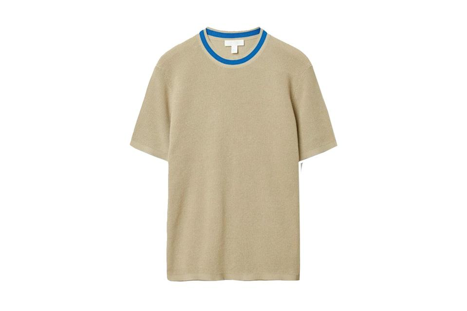 "$89, COS. <a href=""https://www.cosstores.com/en_usd/men/menswear/t-shirts/product.organic-cotton-contrast-neck-knitted-t-shirt-beige.0909936001.html"" rel=""nofollow noopener"" target=""_blank"" data-ylk=""slk:Get it now!"" class=""link rapid-noclick-resp"">Get it now!</a>"