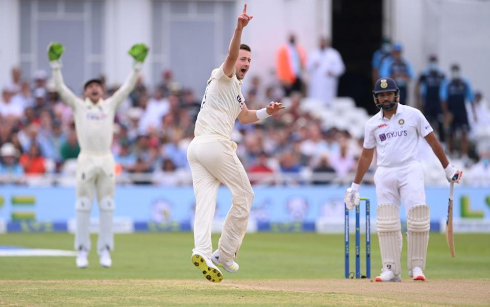 England bowler Ollie Robinson appeals in vain for the wicket of Rohit Sharma during day two of the First Test Match between England and India at Trent Bridge - Stu Forster/Getty Images