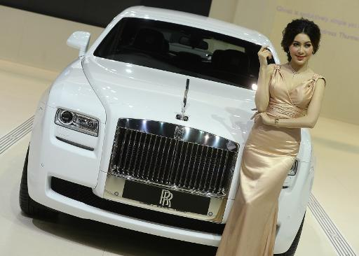 <p>A Rolls-Royce Ghost Deco Art Deco at the Bangkok International Motorshow on March 26, 2013</p>