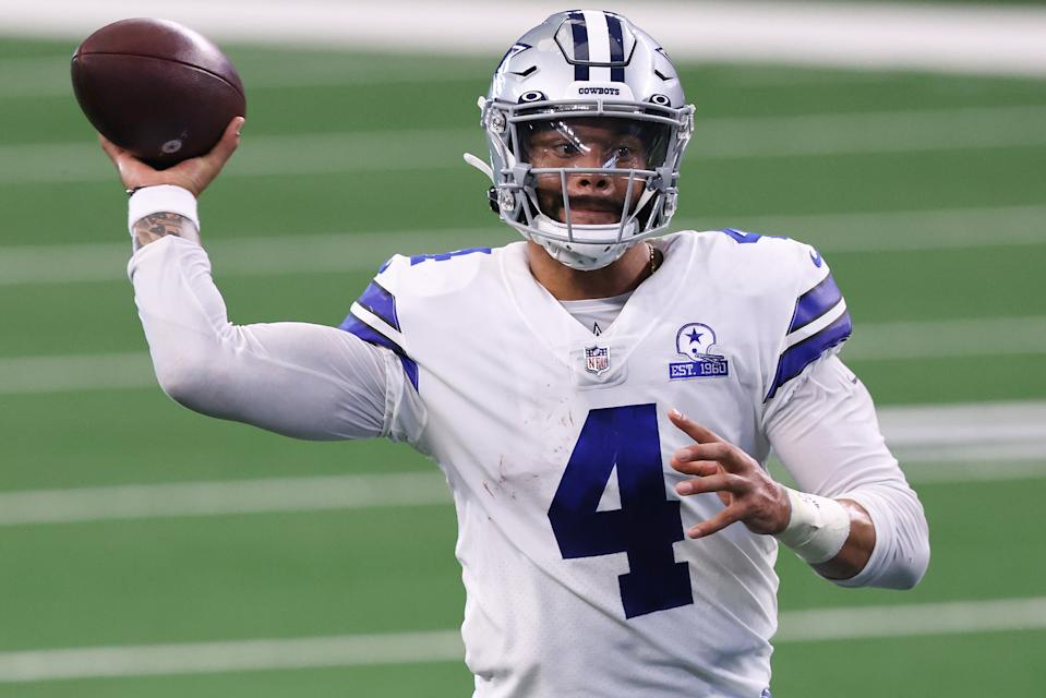 Dak Prescott of the Dallas Cowboys attempts a pass against the New York Giants during an NFL game earlier this season.