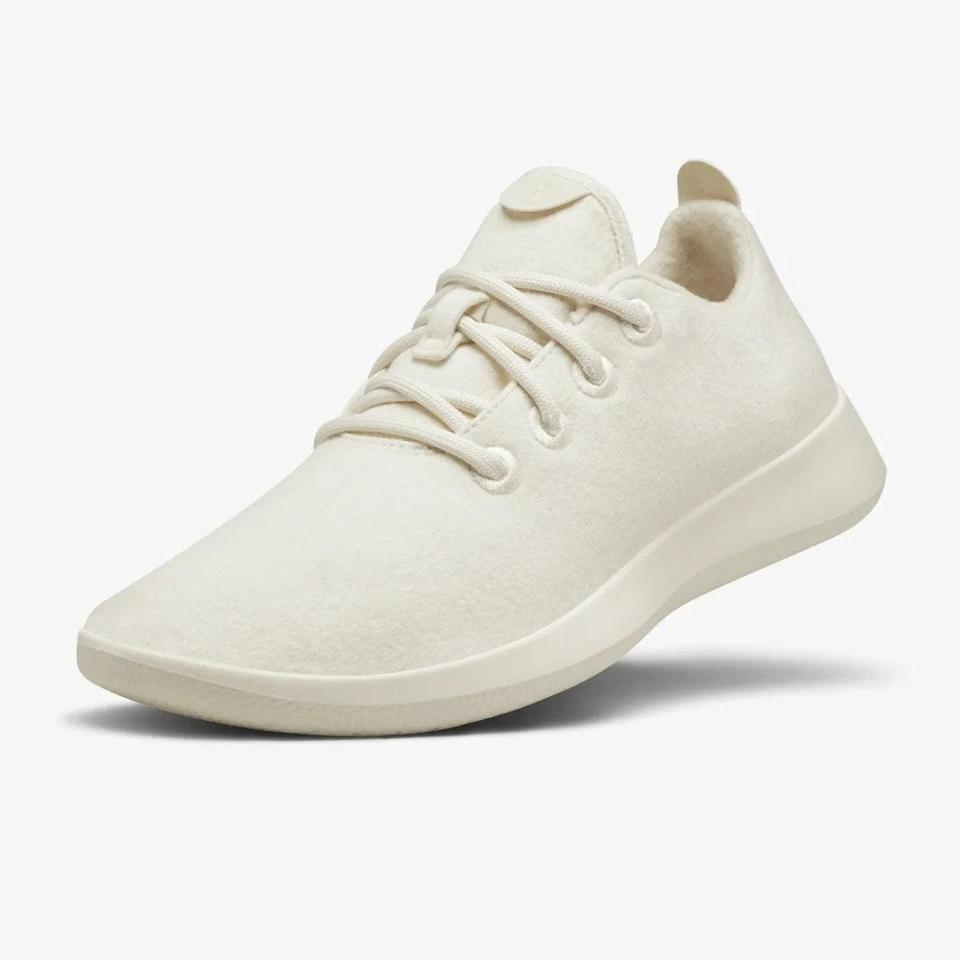"""This list wouldn't be complete without """"the world's most comfortable shoes"""" on it. Allbirds's machine-washable wool sneakers are ubiquitous on either coast, and one <em>Glamour</em> writer <a href=""""https://www.glamour.com/story/allbirds-runner-sneaker-review?mbid=synd_yahoo_rss"""" rel=""""nofollow noopener"""" target=""""_blank"""" data-ylk=""""slk:explains why"""" class=""""link rapid-noclick-resp"""">explains why</a>: """"The wool upper is pillow-soft with a sole that's supportive enough for all-day wear, and the sustainably sourced fabric is cool to the touch as well."""" Best of all? """"You can forget to wear socks and make it through the day without sweaty swamp feet."""" Sold. $95, Allbirds. <a href=""""https://www.allbirds.com/products/womens-wool-runners-natural-white"""" rel=""""nofollow noopener"""" target=""""_blank"""" data-ylk=""""slk:Get it now!"""" class=""""link rapid-noclick-resp"""">Get it now!</a>"""